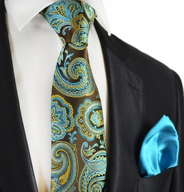 Brown and Turquoise 7-fold Silk Tie Set by Paul Malone