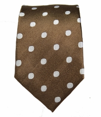 Brown and White Slim Silk Tie by Paul Malone