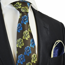 Brown Floral Men's Tie Combo with Navy Rolled Pocket Square