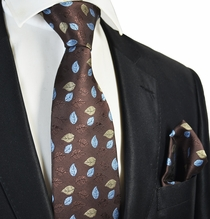 Brown Floral Tie and Pocket Square Set