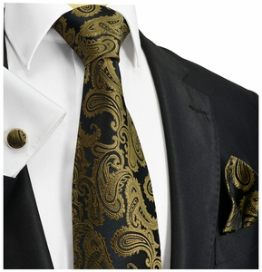 Brown Paisley Silk Mens Tie Set by Paul Malone