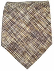 Brown Paul Malone Men's Tie . Cotton/Linen Blend
