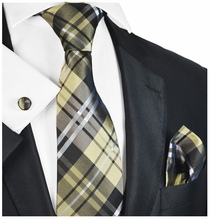 Brown Plaid Silk Tie Set by Paul Malone