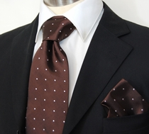Brown Polka Dots, Necktie & Pocket Square by Paul Malone (925H)