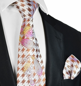 Brown Steven Land Big Knot Silk Tie and Pocket Square