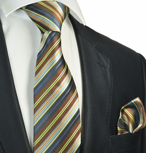 Brown Striped Tie and Pocket Square Set