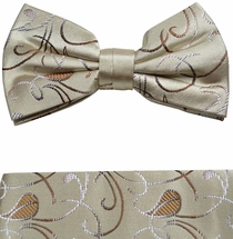 Brown & Tan Bow Tie and Pocket Square Set by Paul Malone . 100% Silk (BT915H)