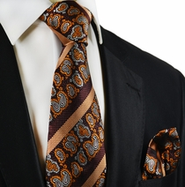 Burgundy and Orange Silk Tie Set by Paul Malone