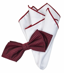 Burgundy and White Silk Bow Tie Set with Rolled Bordered Pocket Square