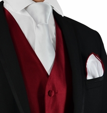 Burgundy and White Suit Vest, Tie and Pocket Square