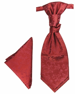 Burgundy Cravat and Pocket Square by Paul Malone