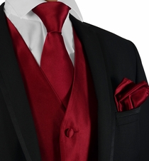 Burgundy Mens Suit Vest, Tie and Rolled Pocket Square