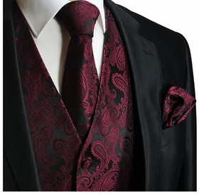 Burgundy Paisley Tuxedo Vest Set by Paul Malone