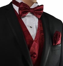 Burgundy Paisley Vest and Bow Tie Set by Paul Malone