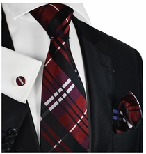 Burgundy Plaid Silk Tie Set by Paul Malone
