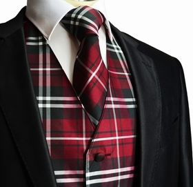 Burgundy Plaids Tuxedo Vest and Necktie Set