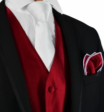 Burgundy Red and White Tuxedo Vest, Tie and Pocket Square