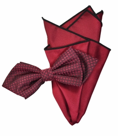 Burgundy Red Silk Bow Tie Set with Rolled Bordered Pocket Square