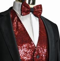 Burgundy Sequin Tuxedo Vest and Bow Tie