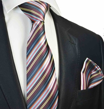 Burgundy Striped Tie and Pocket Square Set