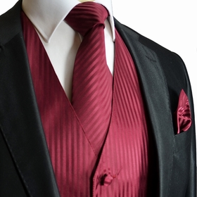 Burgundy Striped Tuxedo Vest, Tie and Pocket Square