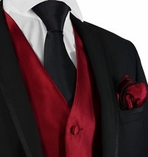 Burgundy Suit Vest, Tie and Rolled Pocket Square