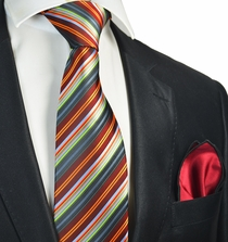 Burnt Orange Striped Tie and Pocket Square Set