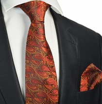 Burnt Orange Tie and Pocket Square Set