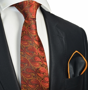Burnt Orange Tie with Contrast Rolled Pocket Square