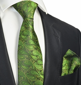 Cactus Green Tie and Pocket Square Set