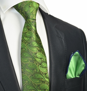 Cactus Green Tie with Contrast Rolled Pocket Square