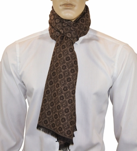 Camel Brown Patterned Men's Scarf by Paul Malone