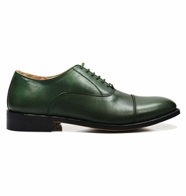 Cap-toe in Smoke Pine Green, Full Leather by Paul Malone  �