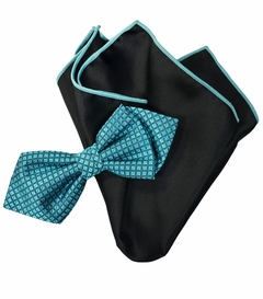 Capri Breeze Blue Silk Bow Tie with Rolled Bordered Pocket Square