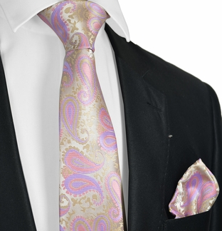 Cashmere Rose 100/% Cotton Tie and Pocket Square Set by Paul Malone