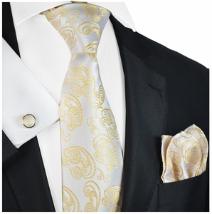 Champagne Paisley Necktie Set by Paul Malone
