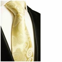 Champagne Paisley Tie by Paul Malone (442)