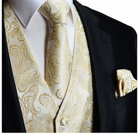 Champagne Paisley Tuxedo Vest Set with Tie and Pocket Square