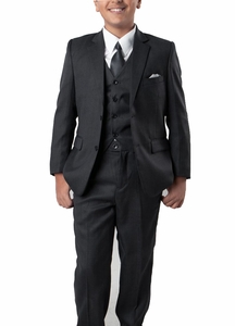 Charcoal 5-piece Boys Suit Set with Vest, Shirt and Tie
