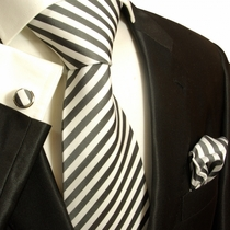 Charcoal and Off-White Striped Paul Malone Silk Tie Set (112CH)