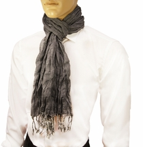 Charcoal Men's Cotton Crinkle Scarf by Paul Malone