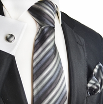 Charcoal Striped Silk Men's Tie Set by Paul Malone