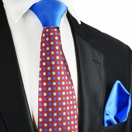 Chili Pepper Red and Blue Contrast Knot Tie Set