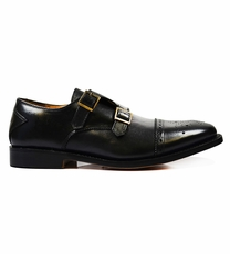 Classic Monk Strap in Black with Two Buckles by Paul Malone
