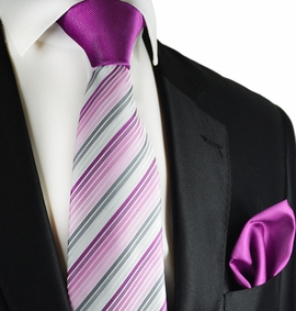 Clover Purple Contrast Knot Tie Set by Paul Malone