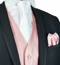 Coral and White Mens Tuxedo Vest, Tie and Rolled Pocket Square