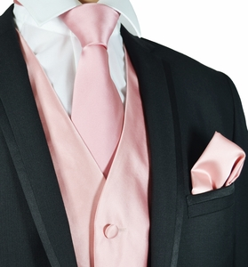 Coral Mens Suit Vest, Necktie and Pocket Square