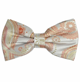 Coral Paisley Silk Bow Tie by Paul Malone