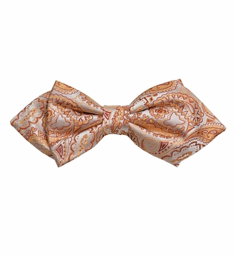 11a83f477257 Coral Paisley Silk Bow Tie by Paul Malone Red Line