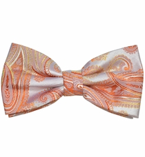 Coral Paisley Silk Bow Tie with Pocket Square